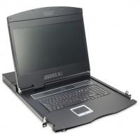 """KVM Modulare Konsole mit 19"""" TFT (48,3cm), 16 Port KVM & Touchpad, deutsche Tastatur RAL 9005 - schw"""