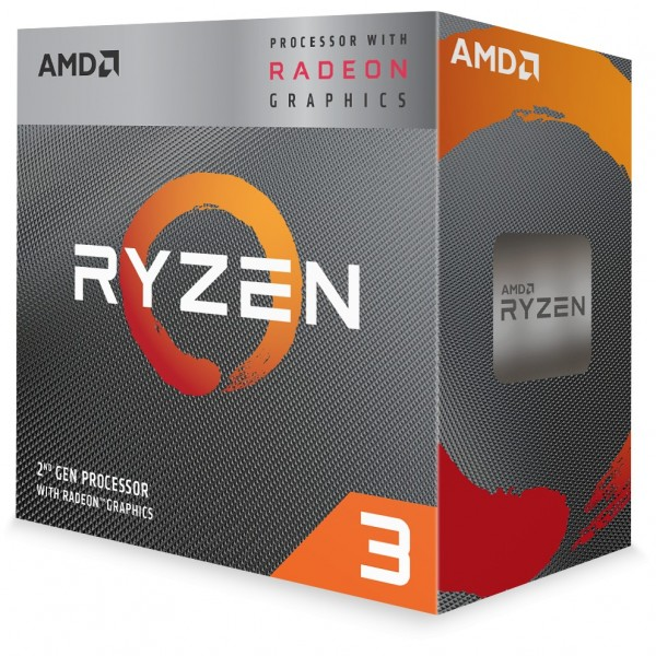 AMD AM4 Ryzen 3 Box 4 Core 3200G 3,6 GHz MAX Boost 4,0GHz 4MB Cache 65W Radeon Vega 8 Graphic with W