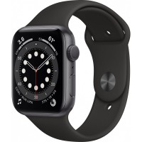 Apple Watch Series 6 GPS, 44mm Space Gray Aluminium Case with Black Sport Band - Regular *NEW*