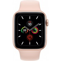 Apple Watch Series 5 GPS + Cellular, 44mm Gold Aluminium Case with Pink Sand Sport Band - S/M & M/L