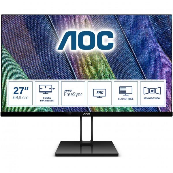 "68,6cm/27"" (1920x1080) AOC Value-line 27V2Q Full HD 16:9 IPS HDMI DP 75Hz Black"