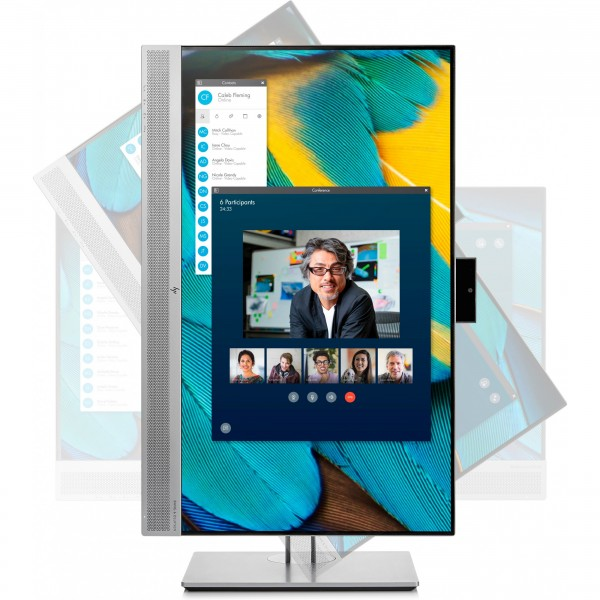 "60,5cm/23,8"" (1920x1080) HP EliteDisplay E243m Full HD IPS Webcam USB Hub VGA HDMI Pivot black - Silber"