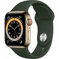 Apple Watch Series 6 GPS + Cellular, 40mm Gold Stainless Steel Case with Cyprus Green Sport Band - Regular *NEW*