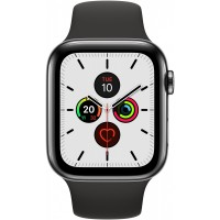 Apple Watch Series 5 GPS + Cellular, 44mm Space Black Stainless Steel Case with Black Sport Band - S