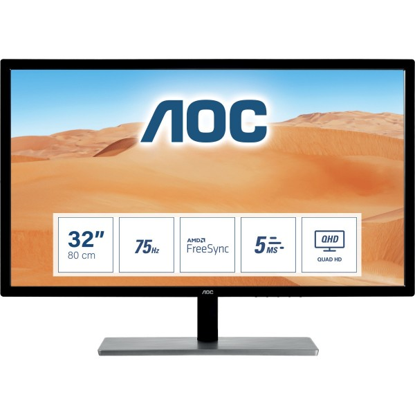 "80cm/31,5"" (2560x1440) AOC Value-line Q3279VWFD8 Wide Quad HD VGA HDMI DP IPS FreeSync 75Hz Black"