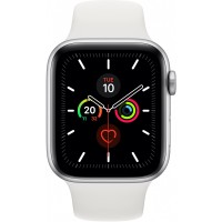 Apple Watch Series 5 GPS + Cellular, 44mm Silver Aluminium Case with White Sport Band - S/M & M/L