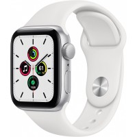 Apple Watch SE GPS, 40mm Silver Aluminium Case with White Sport Band - Regular *NEW*
