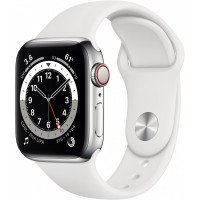 Apple Watch Series 6 GPS + Cellular, 40mm Silver Stainless Steel Case with White Sport Band - Regular *NEW*