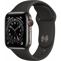 Apple Watch Series 6 GPS + Cellular, 40mm Graphite Stainless Steel Case with Black Sport Band - Regular *NEW*