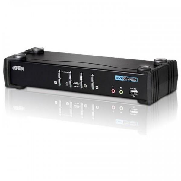 KVM Desktop Switch 4-Port USB DVI KVM Switch with Audio & USB 2.0 Hub (KVM Cables included) ATEN