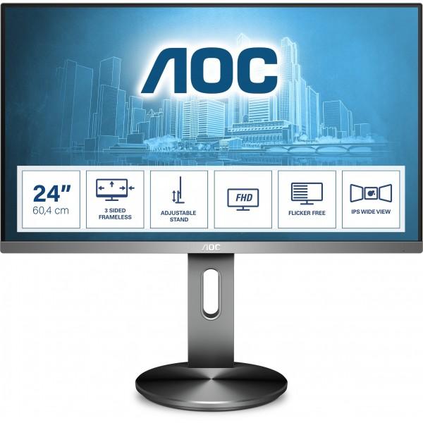 "60,5cm/23,8"" (1920x1080) AOC Pro-line I2490PXQU/BT Full HD IPS 4ms VGA HDMI DP 4xUSB 3.0 Grey"