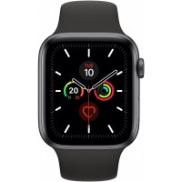 Apple Watch Series 5 GPS + Cellular, 44mm Space Grey Aluminium Case with Black Sport Band - S/M & M/