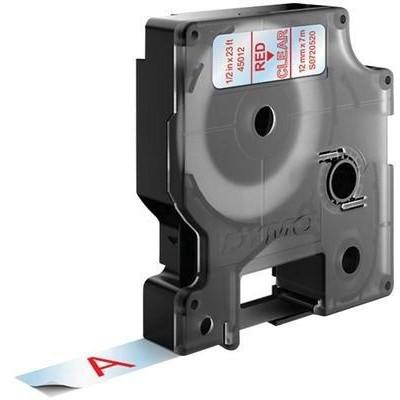 Dymo LabelWriter - D1 Etiketten selbstklebend - 12 mm x 7 m - Rot auf Transparent - (S0720520)