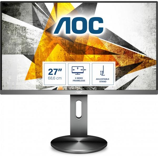"""68,6cm/27"""" (1920x1080) AOC I2790PQU/BT Full HD IPS 4ms HDMI VGA DP USB 3.0 16:9 Grey"""