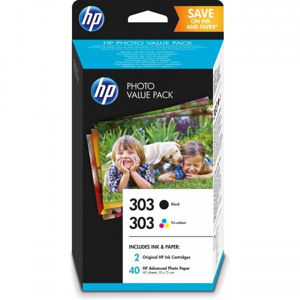 HP 303 Photo Value Pack black, cyan, magenta, yellow + 40 Blatt/10x15cm Papier Z4B62EE