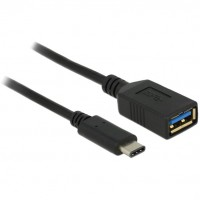 USB C > Adapter USB Typ-A Buchse 15 cm schwarz Delock