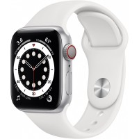 Apple Watch Series 6 GPS + Cellular, 40mm Silver Aluminium Case with White Sport Band - Regular *NEW*