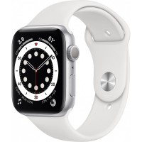 Apple Watch Series 6 GPS, 44mm Silver Aluminium Case with White Sport Band - Regular *NEW*