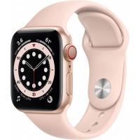 Apple Watch Series 6 GPS + Cellular, 40mm Gold Aluminium Case with Pink Sand Sport Band - Regular *NEW*
