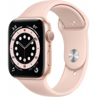 Apple Watch Series 6 GPS, 44mm Gold Aluminium Case with Pink Sand Sport Band - Regular *NEW*