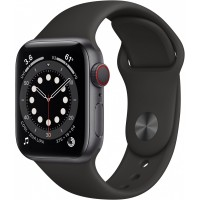 Apple Watch Series 6 GPS + Cellular, 40mm Space Gray Aluminium Case with Black Sport Band - Regular *NEW*