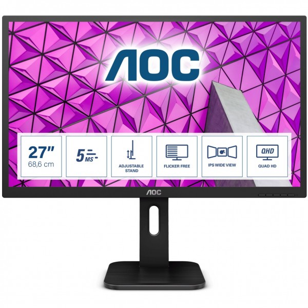 """68,6cm/27"""" (2560x1440) AOC Pro-line Q27P1 Quad HD 60Hz 5ms HDMI DVI VGA DP USB IPS Pivot Black"""